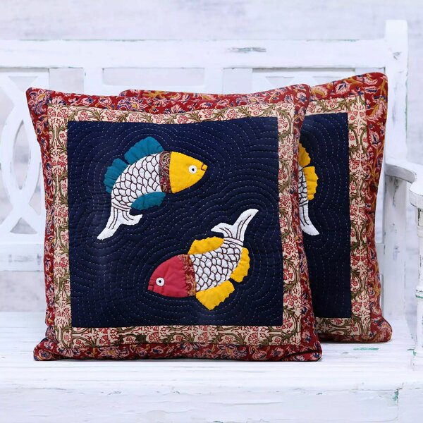 Rothesay Fish Bliss 100% Cotton Pillow Cover (Set of 2) by Bloomsbury Market